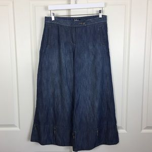 Anthropologie Wide Leg Crop Denim Coulottes